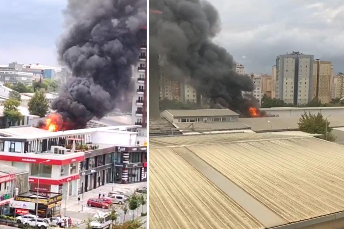 Beylikdüzü'nde bir iş yerinin çatısı alev alev yandı